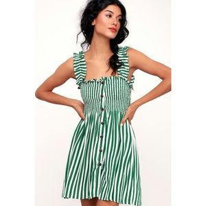 Faithfull Mika dress - green zeus stripe